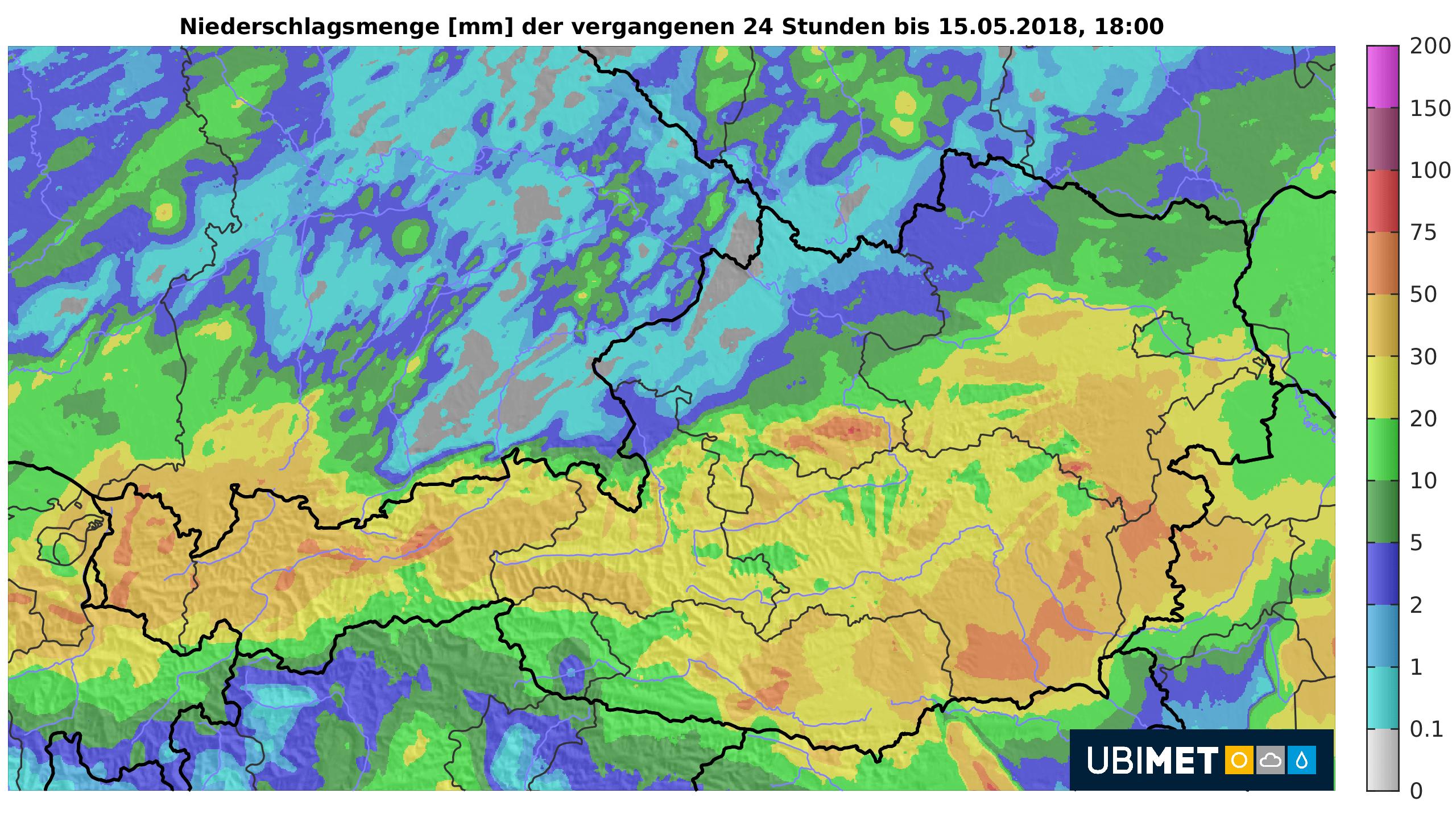 24-h-Niederschlagsmengen bis Dienstagabend. © UBIMET