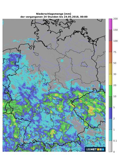 24-h-Niederschlagsmengen von Mittwoch. © UBIMET