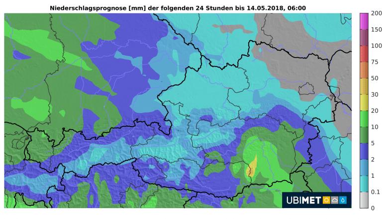 24 h Niederschlagsprognose ©Ubimet