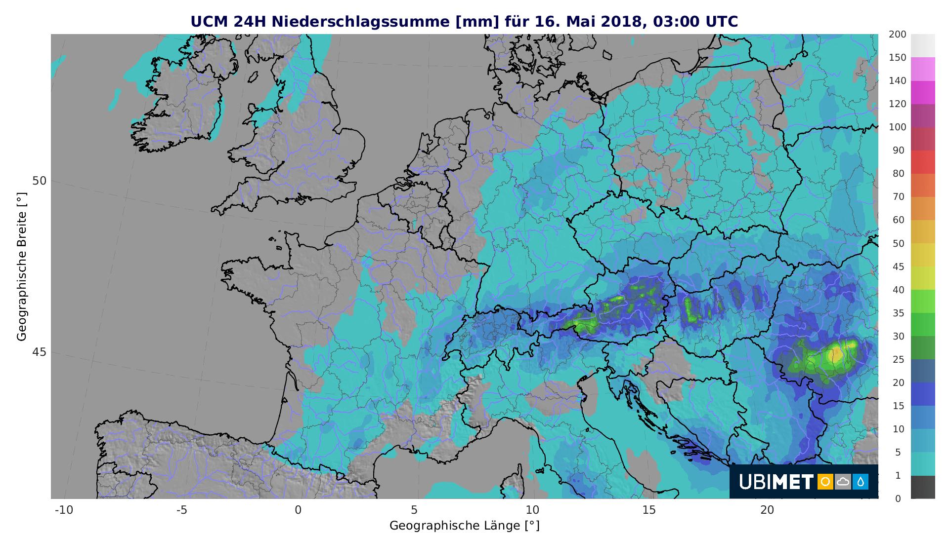 24-h-Niederschlagsprognose bis Mittwochfrüh. © UBIMET