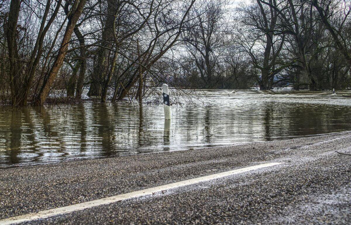 Hochwasser durch Starkregen.