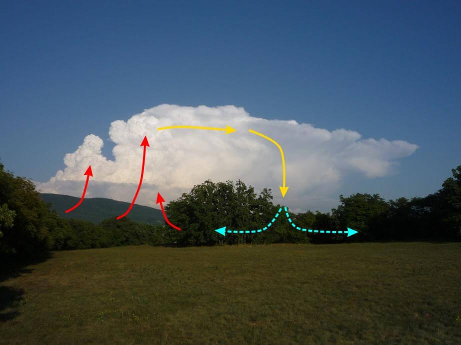 Vereinfachte Darstellung der Konvektion innerhalb einer Gewitterwolke. © Nikolas Zimmermann