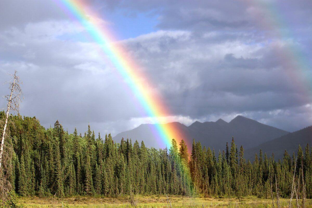 Schauer mit Regenbogen.