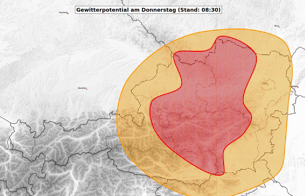Gewitterpotential am Donnerstag. © UBIMET