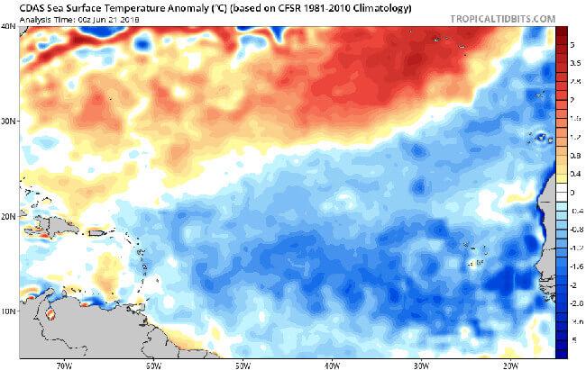 Blau signalisiert einen zu kalten Atlantik.