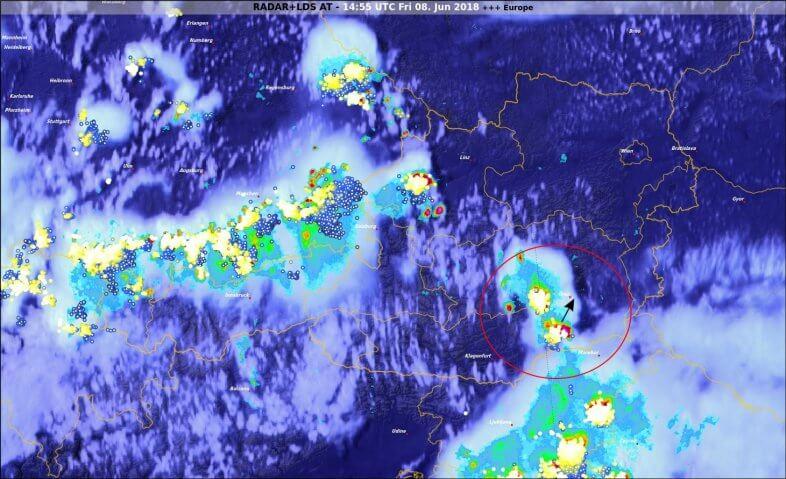 Radar- Blitz- und Satellitendaten um 16:55 Uhr - © UBIMET, EUMETSAT, nowcast, Austrocontrol