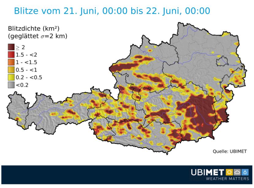 Am Donnerstag gab es knapp 70.000 Blitze. © UBIMET