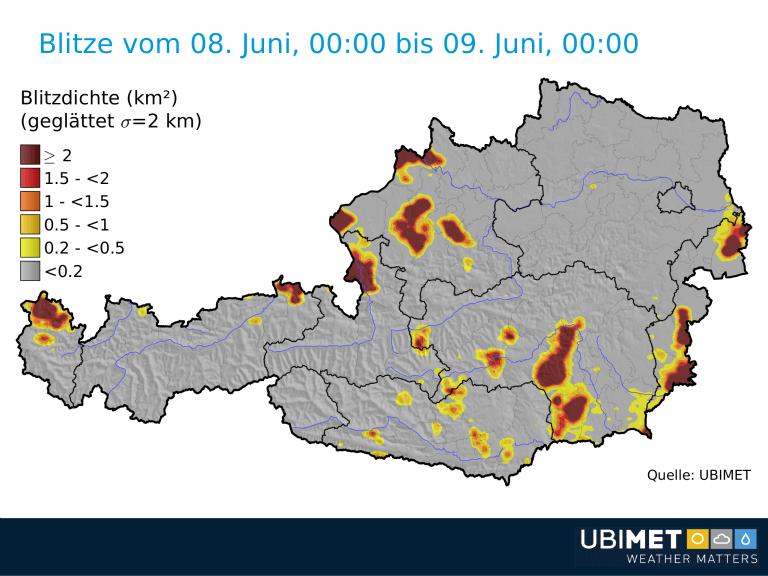 Blitze am Freitag. © UBIMET