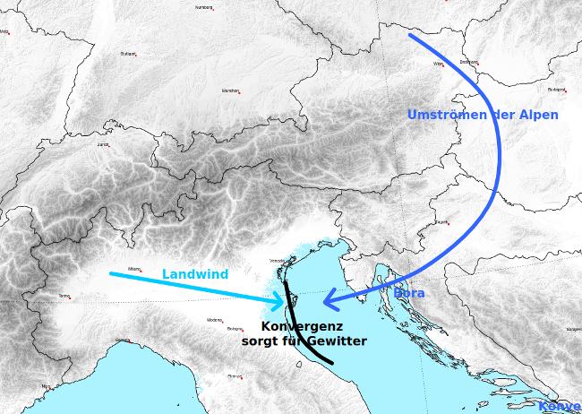 An der Adriaküste bildet sich öfters eine Konvergenz aus