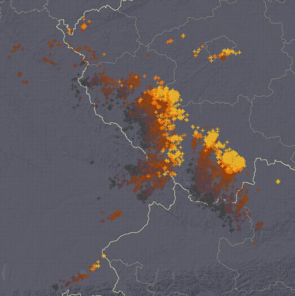 Blitzverlauf der letzten Stunde. (© UBIMET)