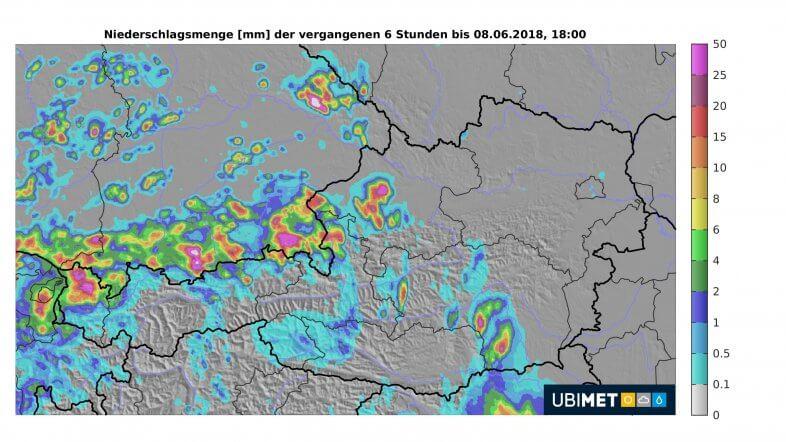 6-stündige Niederschlagssumme bis 20 Uhr  © UBIMET