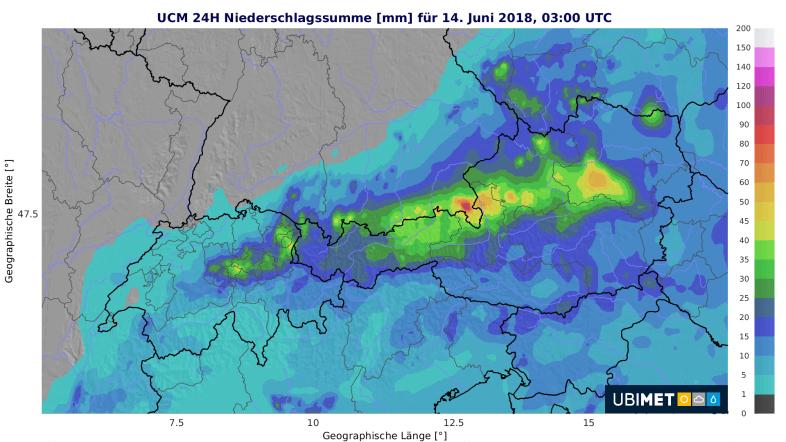 24-stündiger Niederschlag bis Donnerstagfrüh © UBIMET