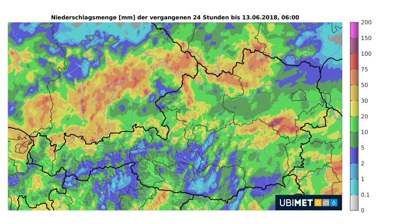 Niederschlagssumme vom Dienstag © UBIMET