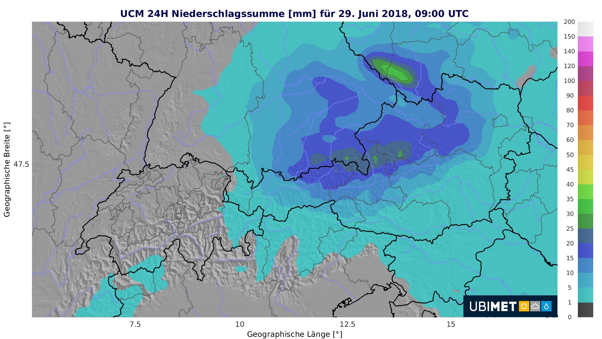 Besonders im Bereich der Nordalpen regnet es kräftig.