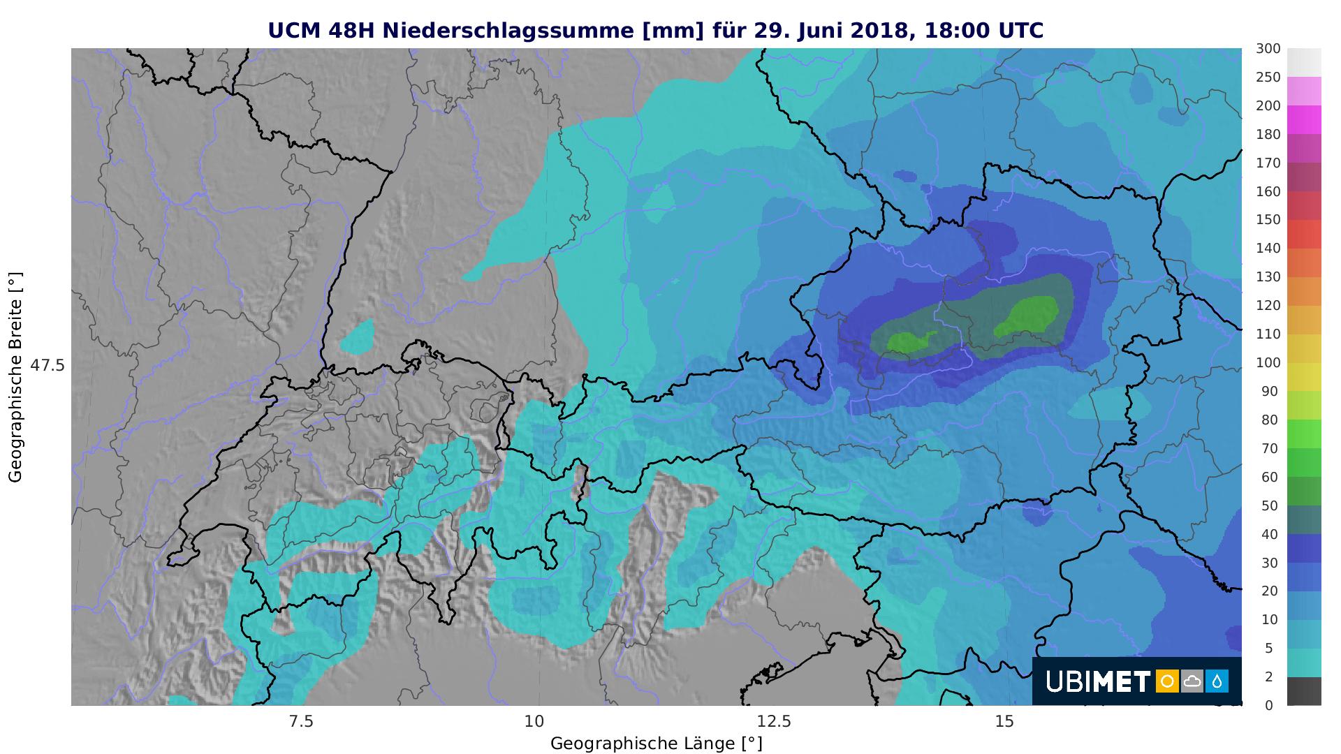 Vor allem im Beriech der Nordalpen gibt es kräftigen Regen.