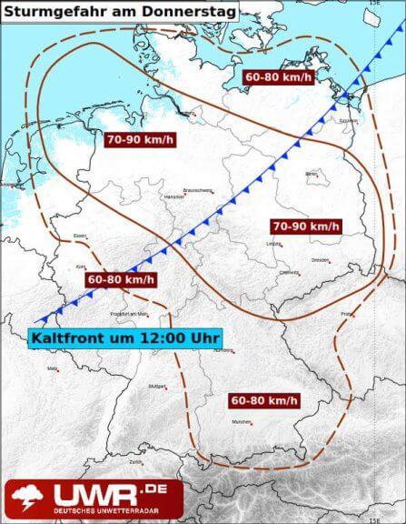 In diesen Regionen droht am Donnerstag Sturm!