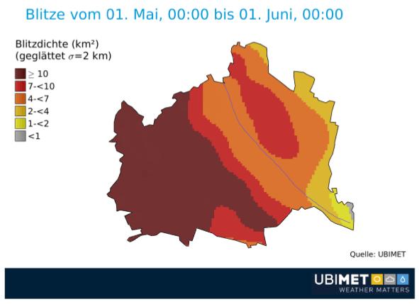 Blitzverteilung in Wien im Mai 2018. @ UBIMET