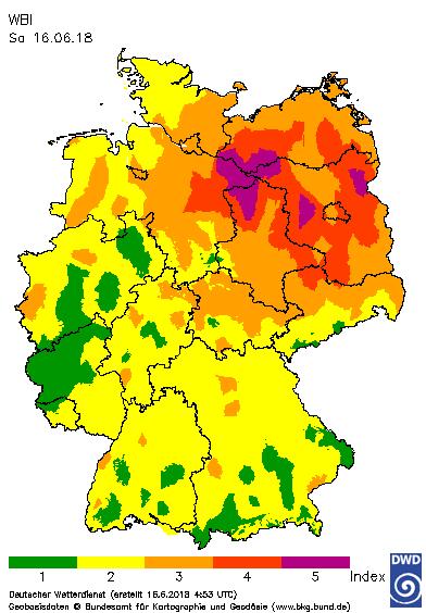 Waldbrandgefahrenindex für den 16.06.2018 © DWD