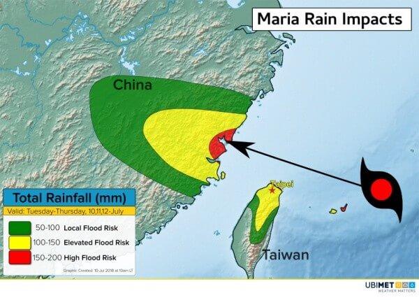 Besonders im Osten Chinas besteht eine erhöhte Gefahr von Überflutungen und Vermurungen.