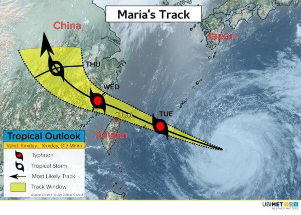 Der Supertaifun Maria nimmt Kurs auf Taiwan und China.