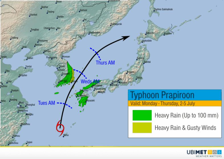 Simulierte Zugbahn des Taifuns. Zugbahn in Richtung Norden