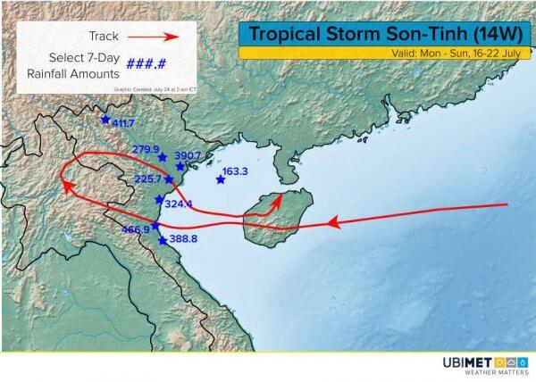 Zugbahn des tropischen Wirbelsturms über den Norden Vietnams © Ubimet
