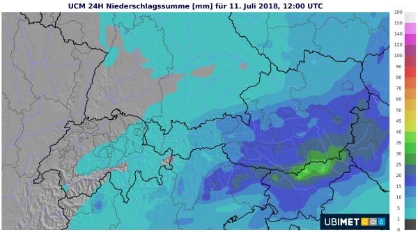 Besonders im östlichen Bergland und im Süden regnet es kräftig.