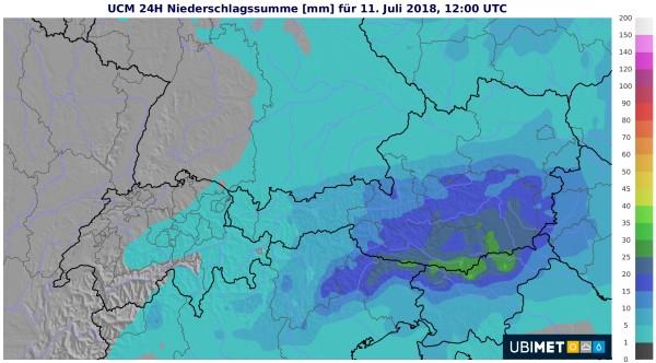 24 Stunden Niederschlag bis Mittwoch 14 Uhr. © UBIMET