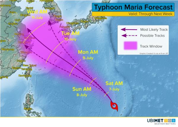 Mögliche Zugbahnen des Taifuns