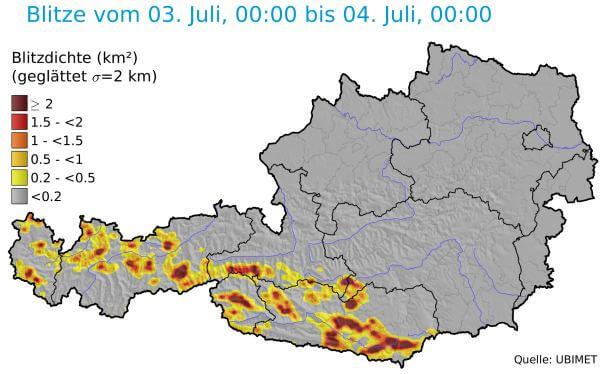 Am Dienstag gab es im Süden und Westen kräftige Gewitter.