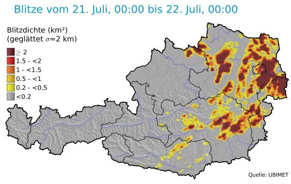 Besonders in Niederösterreich gab es viele Blitze.