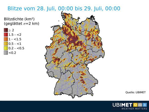 Tausende Blitze am Samstag über Deutschland ©Ubimet