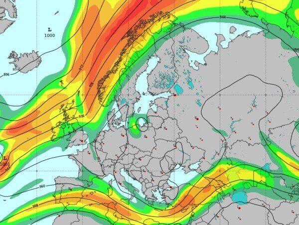Der Jetstream über Europa ist gespalten