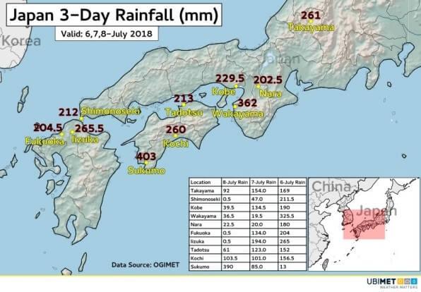 Die großen Niederschlagsmengen sorgten für schwere Überfltutungen in Japan.