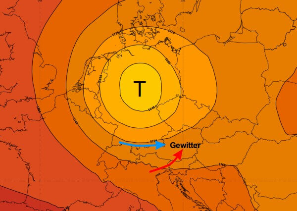 Beosnders im östlichen Bergland und imSüdosten zeichnen sich kräftige Gewitter ab.