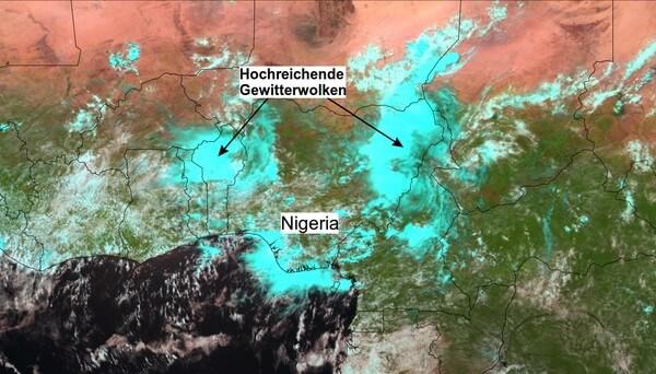 Satellitenbild zeigt Gewitter in Nigeria.