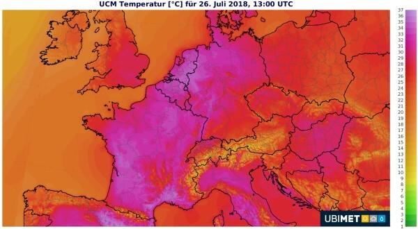 Der Höhepunkt der Hitzwelle findet am Donnstag statt.