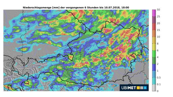 Niederschlagsmengen der vergangenen 6 Stunden © UBIMET