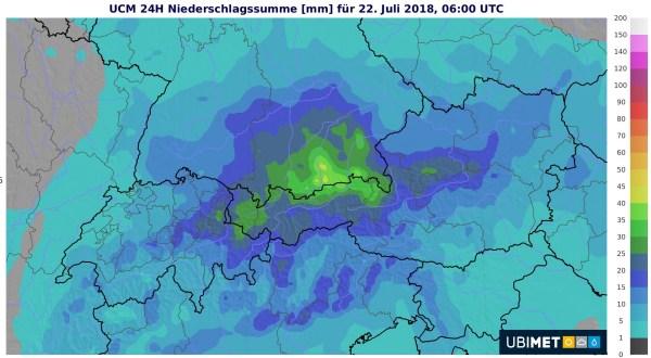 An der Alpennordseite fällt in der Nacht kräftiger Regen.