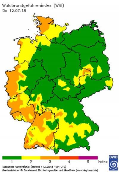 Deutliche Entspannung der Waldbrandgefahr in Nordostdeutschland © Deutscher Wetterdienst