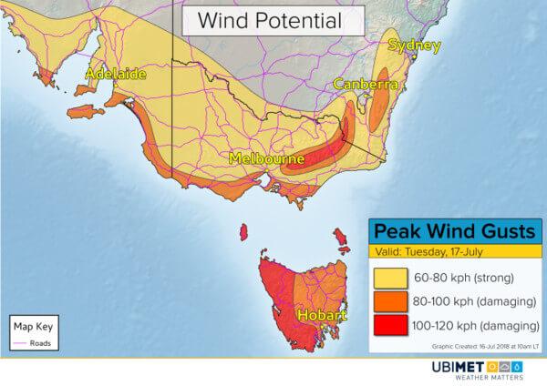 Sturm bringt Sturmböen am Dienstag in Australien. © UBIMET