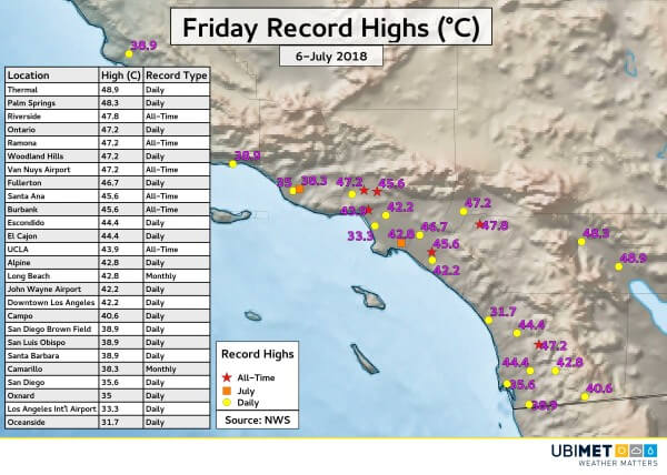 Extreme Hitze im Süden Kaliforniens.