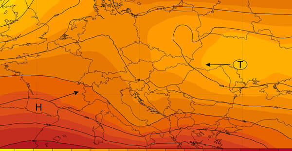 Ein Tief im Nordwesten und ein Hoch im Südwesten ©Ubimet/NCEP