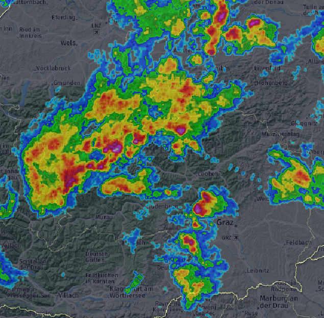Radarbild Steiermark um 17:45 ©AustroControl / UBIMET