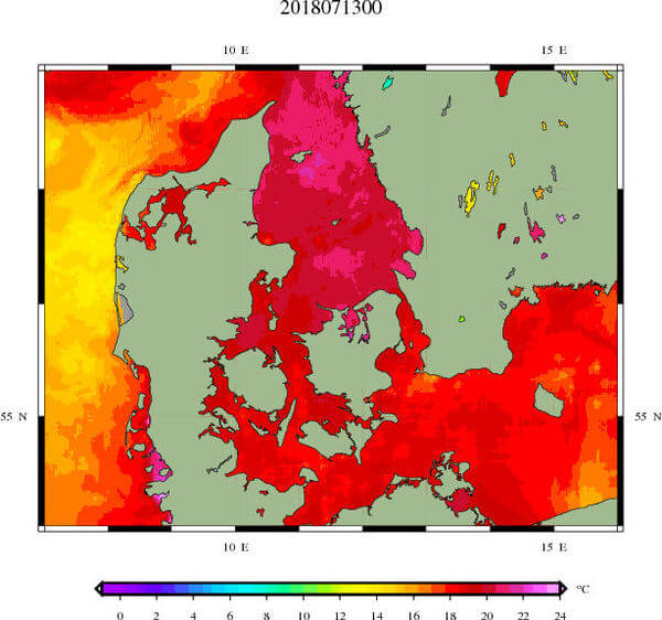 Wassertemperatur Ostsee © Danish Meteorological Institute
