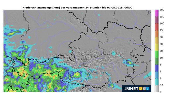Niederschlagssumme der letzten 24 Stunden © UBIMET