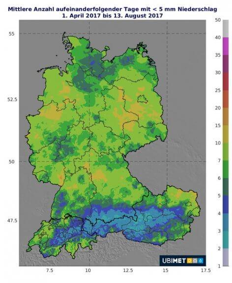 Zu sehen ist die mittlere Anzahl von aufeinanderfolgenden Tagen mit nur geringem Niederschlag von weniger als 5 mm im Jahr 2017 © UBIMET
