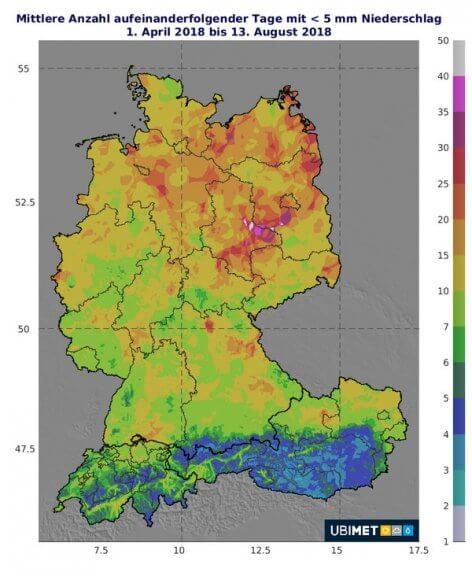 Zu sehen ist die mittlere Anzahl von aufeinanderfolgenden Tagen mit nur geringem Niederschlag von weniger als 5 mm im Jahr 2018 © UBIMET