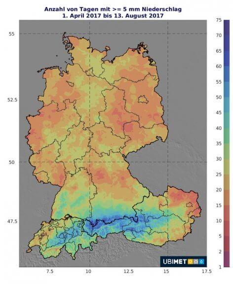 Zu sehen ist die Anzahl der Tage mit >= 5 mm Niederschlag im Jahr 2017 © UBIMET