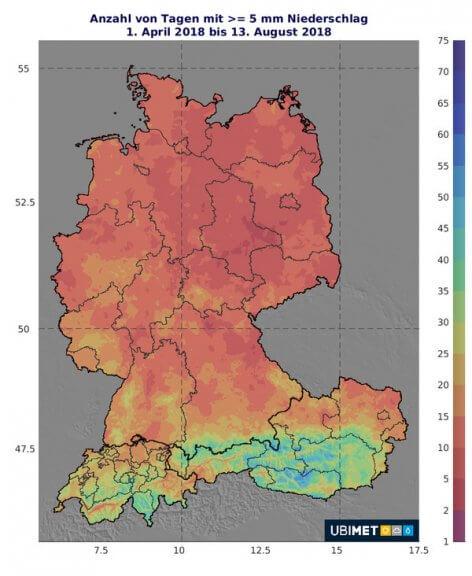 Zu sehen ist die Anzahl der Tage mit >= 5 mm Niederschlag im Jahr 2018 © UBIMET